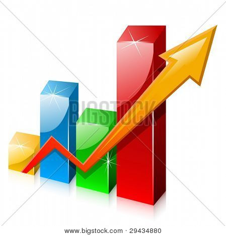 Glassy colorful graph with arrow