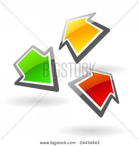 Colorful glassy arrows. Editable vector.
