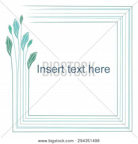 Delicate Blue Pastel Hand Drawn Leaf Design. Vector Frame On White Background With Editable Text Lay