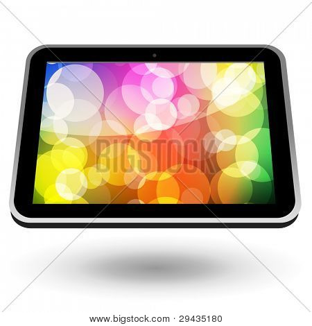 Touch tablet PC 5 (black, horizontal view, with wallpaper). Vector Illustration.