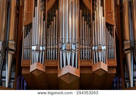 REYKJAVIK, ICELAND - MAY 05, 2018: Cathedral interior Hallgrimskirkja in Iceland, huge church organ with many pipes