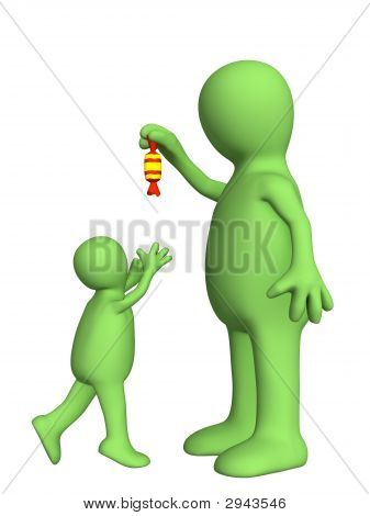 Puppet - Adult, Sneering Above The Small Child