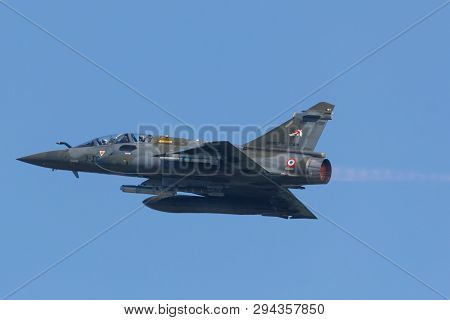 Leeuwarden, Netherlands April 18, 2018: A French Mirage 2000 Taking Off With After Burner During The