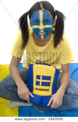 Sweden fan with merchandise and painting of Sweden poster