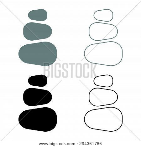 Stacked Stones Stack Stones Zen Stone Tower Spa Stones Stack Icon Set Black Grey Color Vector Illust