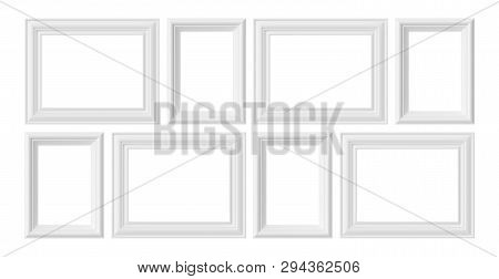 White Blank Photo Or Picture Frames Isolated On White Background, White Colorless Picture Frames Tem