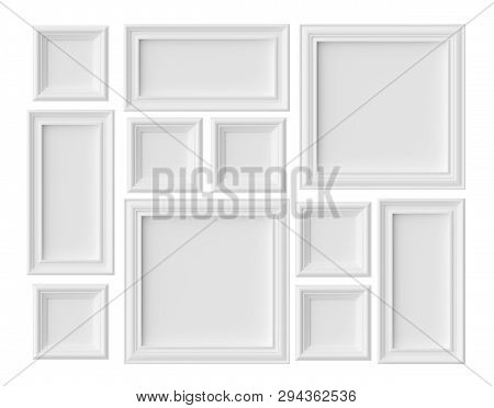 White blank picture or photo frames isolated on whitel with shadows, white colorless picture frames template set, art frames mock-up 3D illustration poster