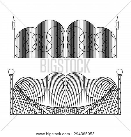 Set Of Wrought Iron Gates And Gates Made Of Metal. Vector Illustration