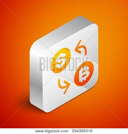 Isometric Cryptocurrency Exchange Icon Isolated On Orange Background. Bitcoin To Dollar Exchange Ico