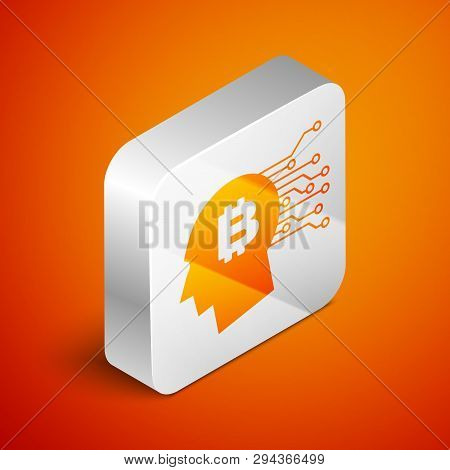 Isometric Bitcoin Think Icon Isolated On Orange Background. Cryptocurrency Head. Blockchain Technolo