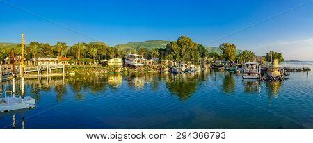 Ein Gev, Israel - April 03, 2019: Panoramic View Of The Fishing Port Of Kibbutz Ein Gev, On The West