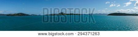 Whitsunday Island, Australia - February 16, 2019: Wide Panorama Shot Of Whitsunday Island Group With