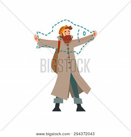 Fisherman Boasting About Size Of Caught Fish, Fishman Spreading His Arms Out To Sides Vector Illustr