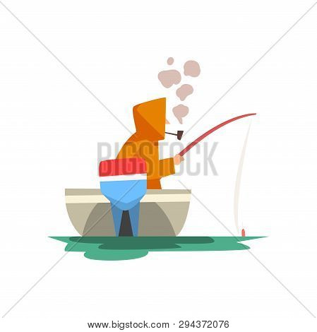 Fisherman Sitting In Boat With Fishing Rod, Fishman Character Wearing Raincoat Smoking Pipe Vector I
