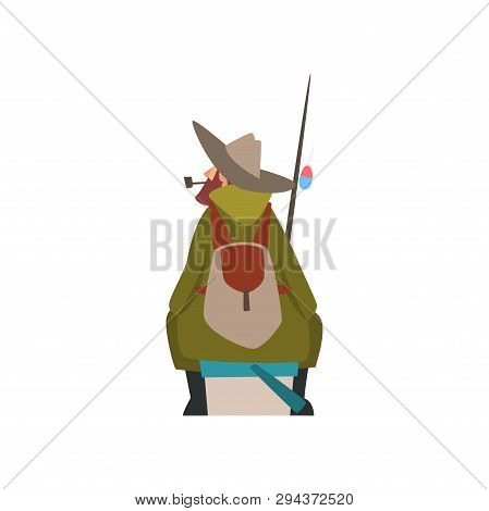Fisherman Sitting On Shore With Fishing Rod And Backpack, Fishman Character In Hat Smoking Pipe, Bac