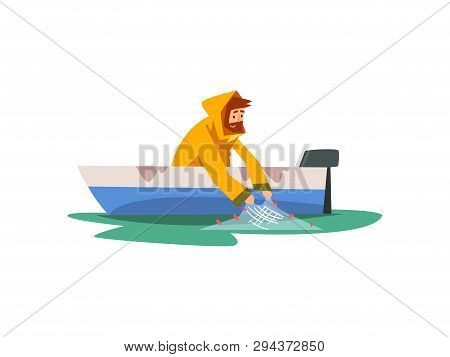 Fisherman Sitting In Boat With Fishing With Net, Fishman Character Wearing Raincoat Vector Illustrat