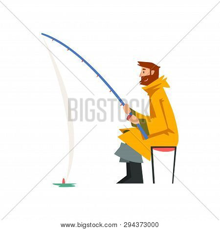 Fisherman Sitting On Shore With Fishing Rod, Fishman Character Wearing Raincoat And Rubber Boots Vec