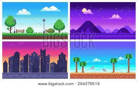 Pixel Art Landscape. Summer Ocean Beach, 8 Bit City Park, Pixel Cityscape And Highlands Landscapes A