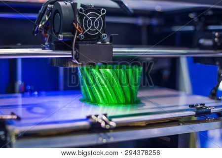 3d Printing Technology Concept - Three Dimensional Printing Machine Making Physical 3d Model At Mode