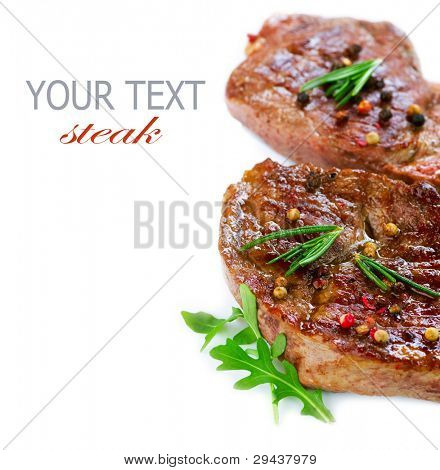 Grilled Beef Steak Isolated on White