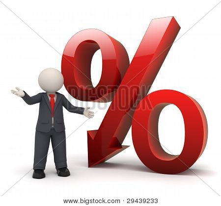 3D Business Man With Big Red Percent Sign
