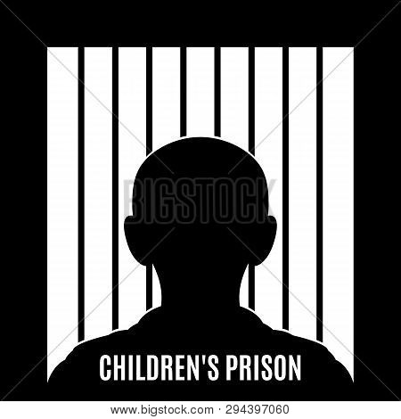 Illustration Of Concept Art Depicting Child Abuse. Illustration Of A Child Behind Bars. Children Aff