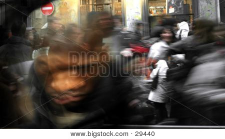 Artistic Blur Of A Crowd Running