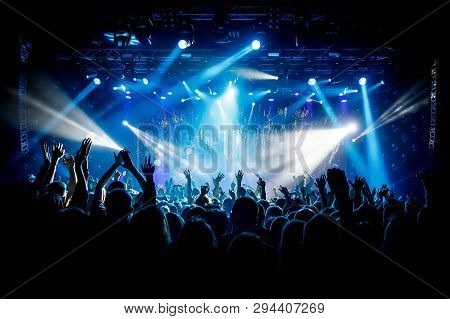 A Lot Of Hands, Crowd On Concert, Blue Light.