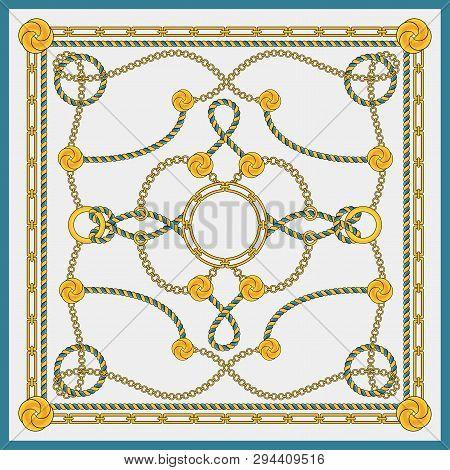 Chain Patten Square Scarf Design. Fashion Accessory