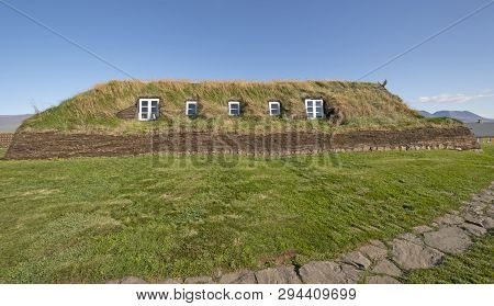 Large Sod House With Windows In The Sod Walls In Glaumbaer, Iceland