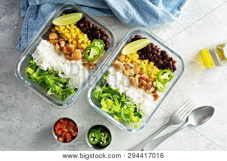 Healthy Green Mexican Inspired Meal Prep With Chicken, Rice, Beans, Corn, Salad