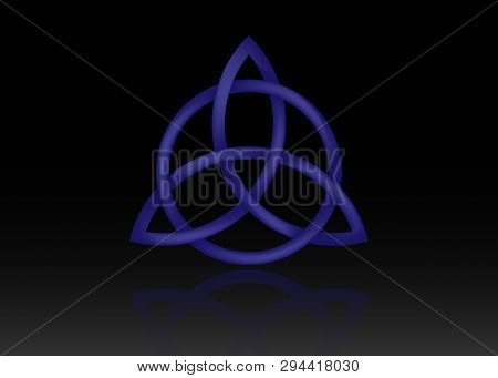 Triquetra Logo, Trinity Knot, Wiccan Symbol For Protection. 3d Vector Blue Celtic Trinity Knot Set I