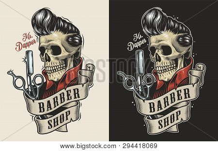 Vintage barbershop colorful print with scissors razor and skull with stylish hairstyle isolated vector illustration poster