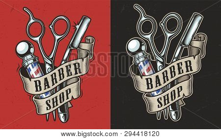 Vintage Barbershop Colorful Label With Ribbon Around Barber Pole Straight Razor And Scissors Isolate