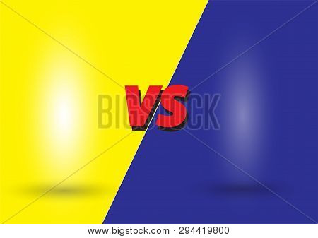 Red Versus Logo Vs Letters For Sports And Fight Competition On Yellow-blue . Battle Vs Match, Game C
