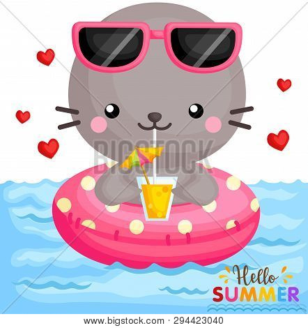 A Vector Of Cute Little Seal On Float Drinking Orange Juice At The Pool