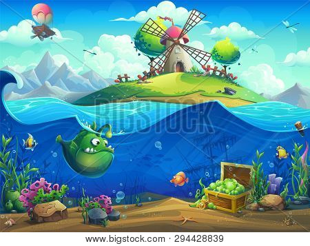 Undersea World With Mill On Island. Marine Life Landscape - The Ocean And The Underwater World With