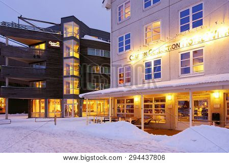 TROMSO, NORWAY, 24 MARCH, 2019: Architecture of Tromso, considered the northernmost city in the world with a population above 50,000