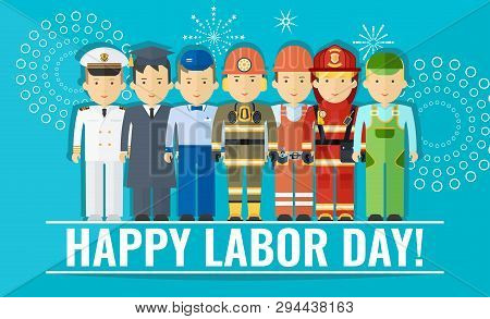 Happy Labor Day Poster With Group Of People Of Different Professions.