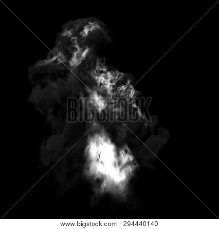 4K Big Smoke Explosion Effect Black Background, Realistic Explosions Boom, Realistic Fiery Explosion