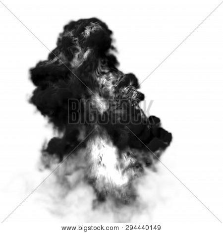 4K Big Smoke Explosion Effect White Background, Realistic Explosions Boom, Realistic Fiery Explosion