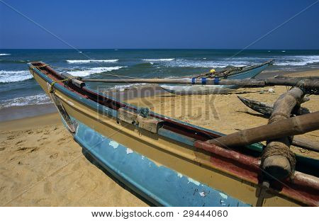 Local Boats Kalutara  Beach Sri Lanka