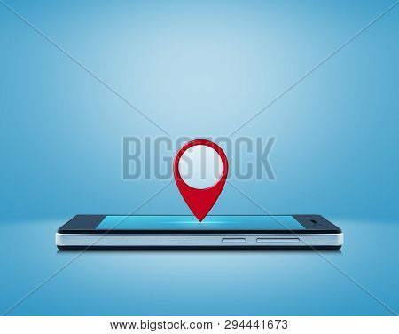 Map Pin Point Location Button On Modern Smart Mobile Phone Screen Over Gradient Light Blue Backgroun