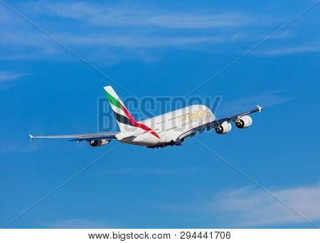 Kloten, Switzerland - September 29, 2016: Airbus A380 Of The Emirates Airline After Taking Off At Zu