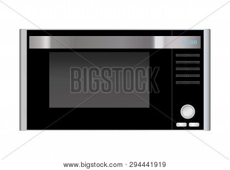 Microwave Front View With Metal Gradient Icon Vector. Microwave With Buttons Cooking Icon.