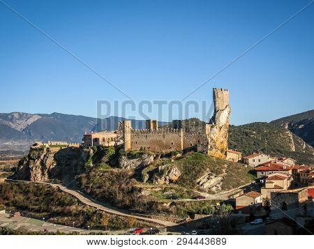 Image of remains of a ruined castle in town of Frias in province of Burgos in Castilla y Leon in Spain poster