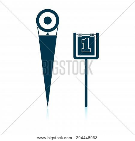 American Football Sideline Markers Icon. Shadow Reflection Design. Vector Illustration.