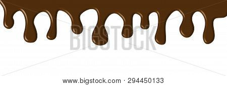 Dripping Brown Paint, Melted Dark, Milk Chocolate Or Syrup Flow Isolated On White Background. Drops