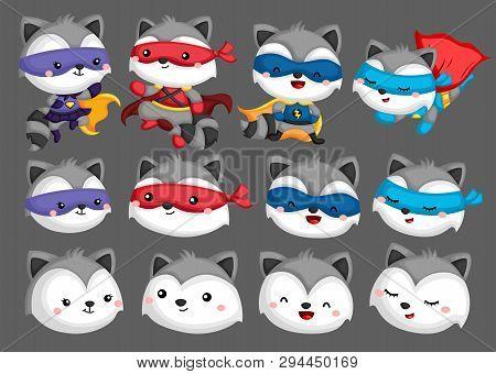 A Vector Set Of Many Raccoon In Superhero Costume