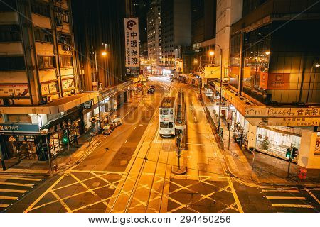 Night Road At Central District Hong Kong City Street View With Traditional Style Tram Public Transpo